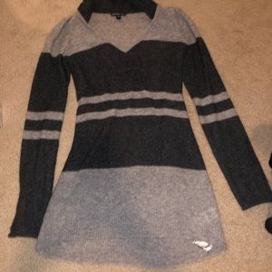 James Perse 100% striped cashmere sweater w/hood